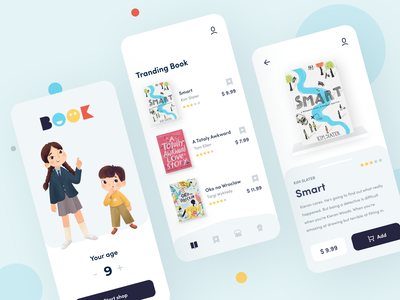 BooKids - App sunday button bookshop bookstore uiux product children book illustration childrens book kids book book cover kids book figma interface procreate mobile illustration colorful app