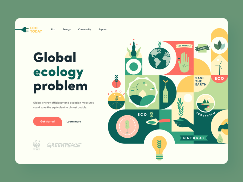 Eco Today sunday button design minimal colorful interface eco ecology energy save web uiux bio earth nature landing page website green homepage user experience