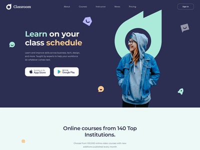 Classroom Landing sunday button animation illustration clean interface colorful design lessons learning academy webdesign teacher student education creative landing page minimal website