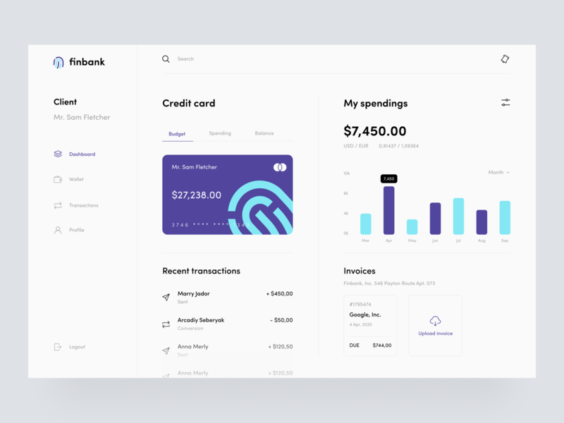 FinBank sunday button finance app finance uiux web dashboard ui transfer application app design invoice spending wallet transaction bank card credit card banking bank dashboard minimal