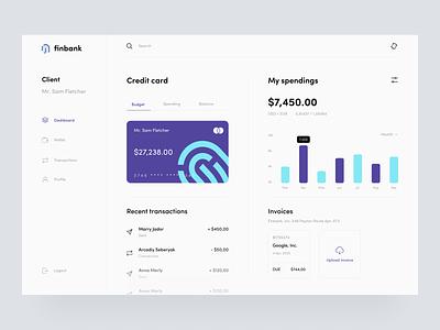 FinBank sunday finance app finance uiux web dashboard ui transfer application app design invoice spending wallet transaction bank card credit card banking bank dashboard minimal