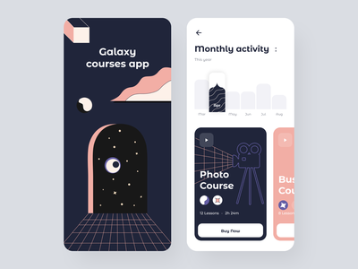 Galaxy app sunday button uidesign ios classes lessons online course mobile app mobile ui courses galaxy figma uiux mobile app illustration colorful minimal learning
