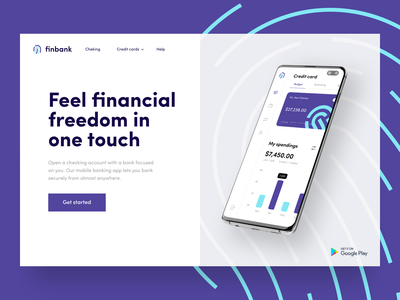 Finbank landing sunday touch financial app bankingapp bank card credit card credit cheking finance card banking bank dashboard app uiux mobile interface minimal design