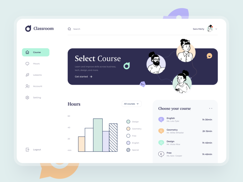 Classroom - Dashboard illustraion icon courses dashboard design lessons academy app uiux interface teach character learning student education class classroom dashboard minimal button sunday