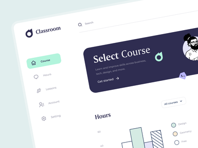 Classroom - Dashboard sunday illustraion icon courses dashboard design lessons academy app uiux interface teach character learning student education class classroom dashboard minimal button
