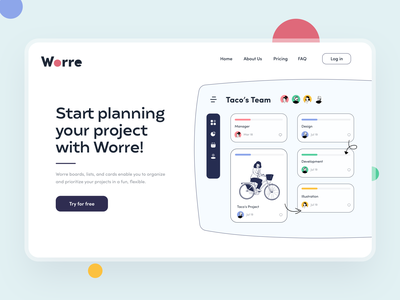 Worre dashboard ui project team landing page landing website task time manager planning dashboard colorful uiux clean app interface design sunday