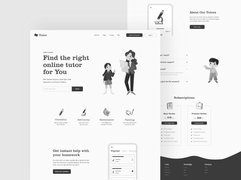 Tutor - Landing knowledge learning student black white black education illustration uiux clean app interface design sunday minimal button