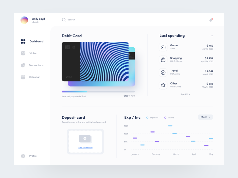 Ubank - Dashboard app design interfaces web spending transaction wallet invoice card banking card banking bank finance dashboard clean app interface design minimal button
