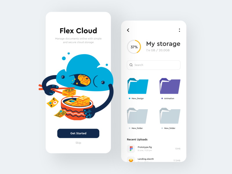 Flex Cloud App batz documents folder file storage cloud mobile illustration uiux clean app interface design sunday minimal button