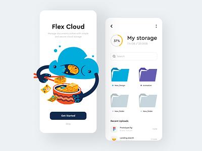 Flex Cloud App documents folder file storage cloud mobile illustration uiux clean app interface design sunday minimal button