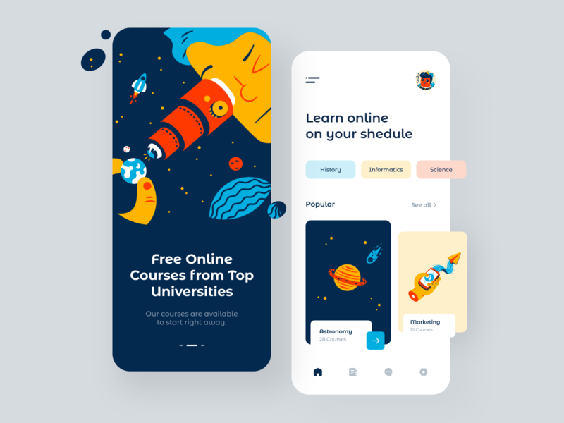 Online Courses App space free shedule marketing astronomy galaxy cosmo courses learning ui mobile uiux clean app interface design sunday minimal button
