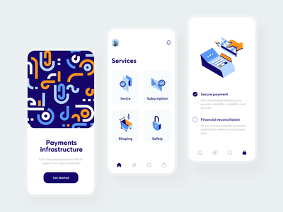 Payment services sunday mobile minimal pattern invoice safety secure integration infrastructure app debit card credit card bank card banking payment method bank app cash finance invoices bank