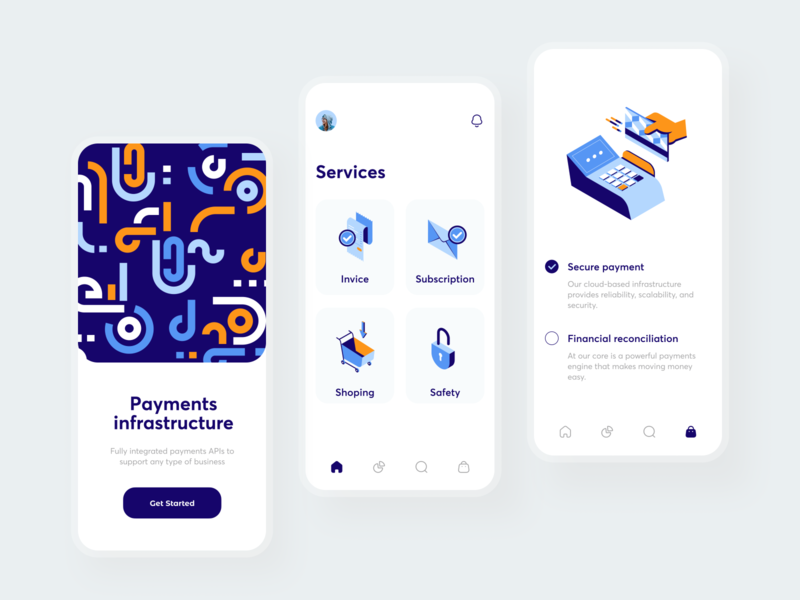 Payment services mobile minimal pattern invoice safety secure integration infrastructure app debit card credit card bank card banking payment method bank app cash finance invoices bank payment app