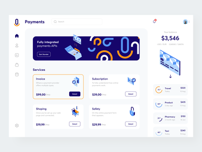 Payment services - Dashboard sunday pay payment sevices invoice app design bankingapp banking app payment method finance app payment app pattern clean finance dash payment dashboard payment