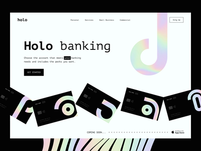 Holo sunday gradient black fintech invoice bankingapp cards ui card bank finance banking uiux interface design app clean ui minimal
