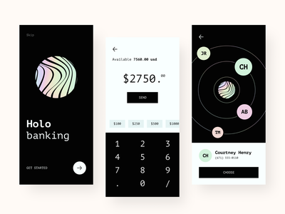 Holo App sunday mobile ui onboarding fintech transaction dark gradient holo holographic bankingapp invoice bank finance banking mobile uiux interface design clean minimal