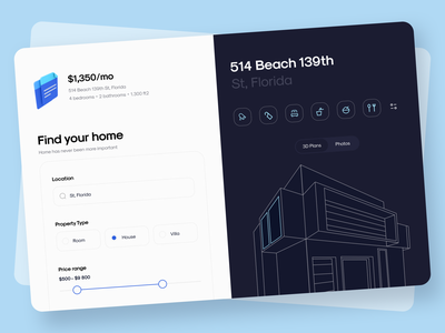 Real Estate - Dashboard sunday flat office architecture real estate hotel home apartments interface app uiux clean web nearby dashboad realestate minimal