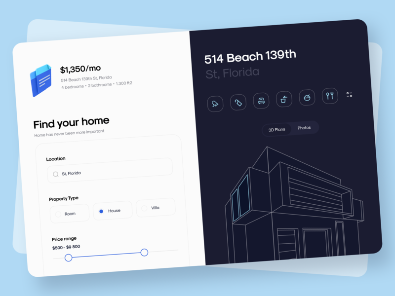 Real Estate - Dashboard flat office architecture real estate hotel home apartments interface app uiux clean web nearby dashboad realestate minimal batz