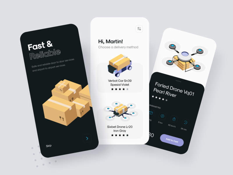 Delivery App delivery app drone delivery illustration ui mobile uiux design clean app interface minimal