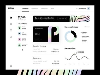 Holo Banking - Dashboard fintech wallet dashboard ui dark holo dashboard invoice bank finance banking uiux design clean app interface minimal