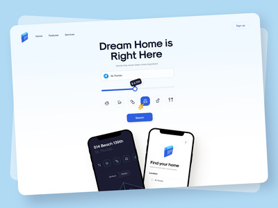 Real Estate - Landing Page rent bookings house rental illustration sunday minimal apartment realestate hotel nearby booking mobile real estate home 3d web landingpage landing sundaycrew