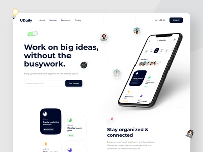 Udaily - Task Manager Landing landingpage landing web clean uidesign uiux mobile task to do manager to do list to do app 3d minimal calenday task management sprint asana trello schedule