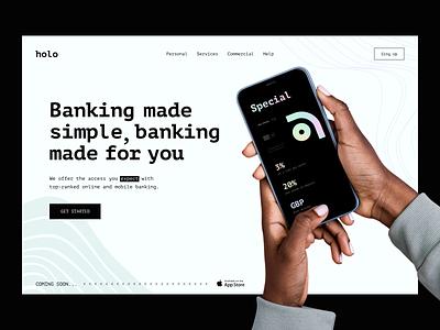 Holo Banking - Homepage bank app landing homepage landingpage banking finance bank fintech gradient holo invoice mobile banking dashboard banking app banking website web minimal banking card creditcard
