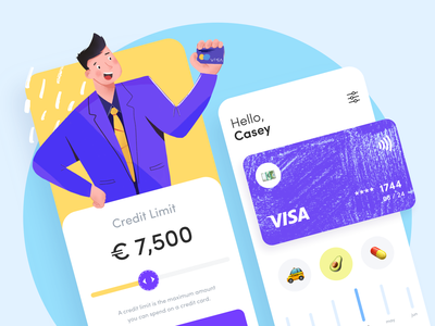 Credit Union Banking App sunday button balance payment credit bank card credit card finance uiux design clean minimal app bank sketch illustration ios mobile banking app