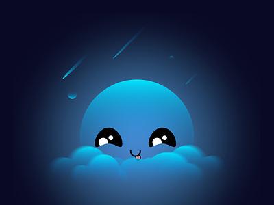 PEEK-A-BOO clouds moon digitalart blue cute space shades illustration graphicdesign