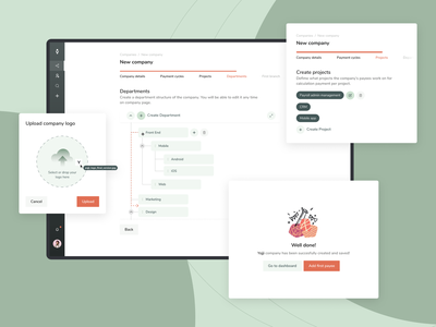 Payroll - money transfer system finance payees counterparty transfers manage payment cycle money transfer calendar departaments company money vector ux web design logo branding ui design payment