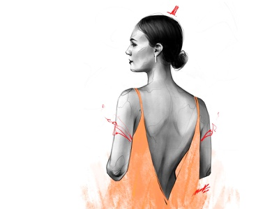 Orange Dress 🔥 beautiful girl beautiful beauty babe lover character painting body hair drawing portrait art artwork illustration girl