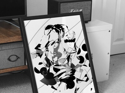 Negroni Experiment Poster poster art bnw abstract experiment poster drawing portrait art artwork illustration girl