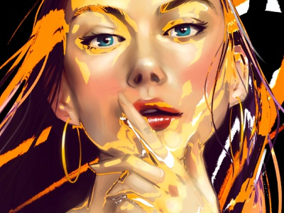 Orange - Close up contemporary portrait art female face poster art print poster drawing portrait art artwork girl illustration