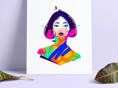 Yuki ♥︎ drawing eyes face art artwork simple flatillustration flat print poster portrait illustration girl