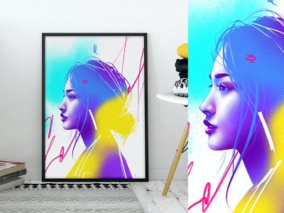 Aynd print fineart print design poster art poster print female drawing portrait art artwork illustration girl