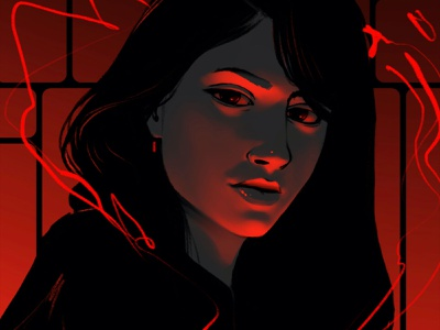 He is in the details poster print satanic satan devil female artwork drawing portrait art illustration girl