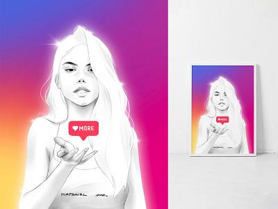 Instagram Girl instagram aestetics beauty female eyes face sexy hair drawing portrait art artwork illustration girl