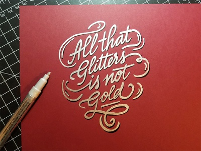 All that glitters calligraphy typography layout design lettering freehand handlettering handwriting doodle silver gold illustration