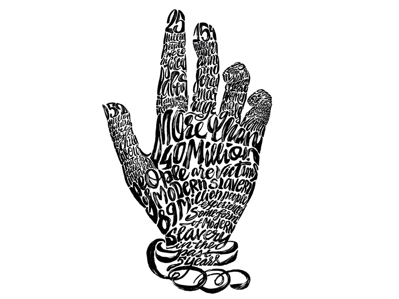 40 Million design inforgraphic typography type handlettering ink paint drawing hand slavery illustration lettering