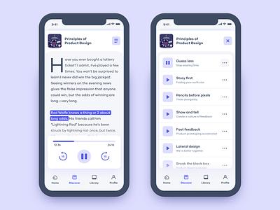 DesignAudio 📚 minimal ui ux audiobook app podcast ios product design