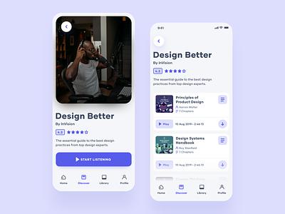 DesignAudio 📚(cont.) ux ui product design podcast minimal ios audiobook app