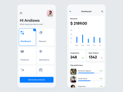 Mobile Dashboard interface minimal ui components dashboard mobile