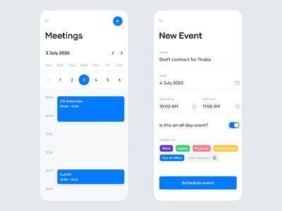 Mobile Calendar ios interactive calendar minimal ux ui mobile