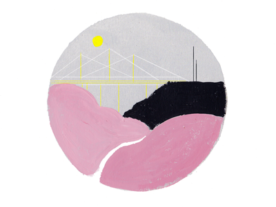 Bridge over Pink River pink acrylic paint painting creative sketch doodle inspire inspiration drawing draw dribbble illustrazione illustrator illustration