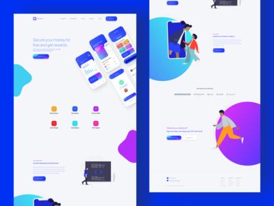 Finance app landing page design