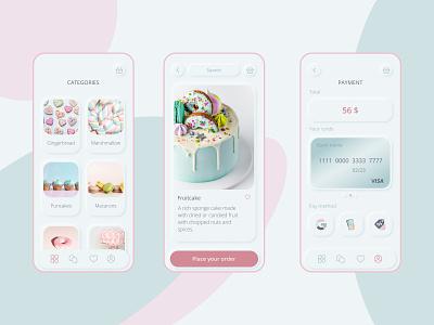Sweets Mobile App yummy illustration shoping shop pastel skeuo backery candy bar branding neumorphism app ux ui design