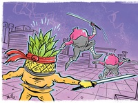 Poised Pineapple VS. Pomegranate Ninjas!