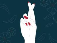 Fingers Crossed nail nails leaves leaf flowers fingers crossed fingers