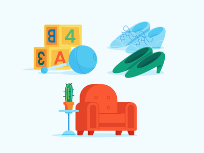 Illustration | Good Use Item Illustrations mobile app mobile app illustration designer illustration studio illustration agency vector illustration illustrator illustration toys shoes furniture items objects