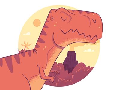 Illustration | Dino Study design illustration color illustrator doodle dinosaur trex volcano study cartoon creativity imagination